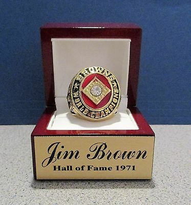 JIM BROWN 1964 NFL Champion 18K Ring w DISPLAY un signed CLEVELAND BROWNS