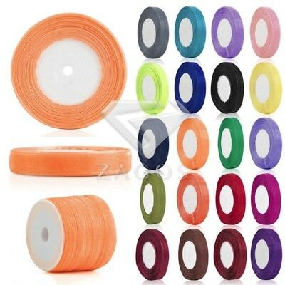 50 Yards 3/6/10/15/20/25/38/50mm Sheer Organza Ribbon Bow Party Wedding Supplies