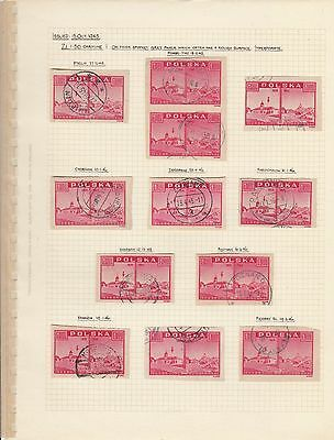 Stamps Poland 1.50zt red View of Warsaw x 12 on album page postmarks & varieties