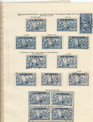 Stamps Poland 3.0zt blue View of Warsaw x 15 on album page postmarks & varieties