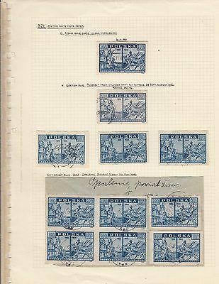 Stamps Poland 3.0zt blue View of Warsaw x 11 on album page postmarks & varieties