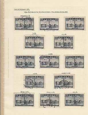 Stamps Poland 6zt grey View of Warsaw x 13 on album page postmarks & varieties