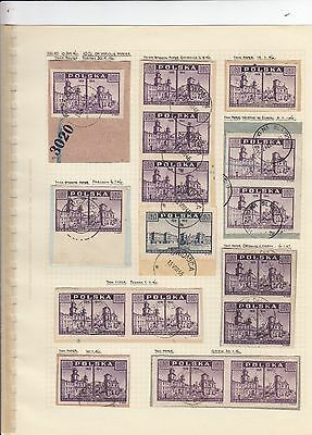 Stamps Poland 10zt purple View of Warsaw x 15 album page postmarks & varieties