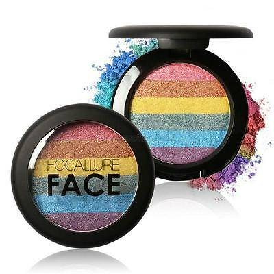 Rainbow Prism Shimmer Eyeshadow Palette Highlighter Blusher Contour Powder