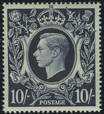 "SG 478 10/- dark blue, superb u/m example, showing ""Retouch to lower lip"" (Row 2"