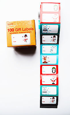 100 Pack Christmas Gift Tags Labels Stickers Gift Tags Present Labels Blue