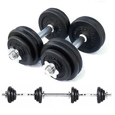 30kg Cast Iron Dumbbell Set Free Weights Training Home Gym Biceps Triceps Bars