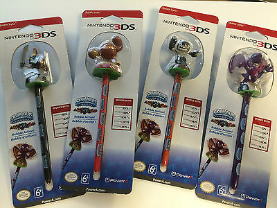 Official Nintendo DS DSi XL Lite 3DS SKYLANDERS Set of 4 TOUCH PENS STYLUS NEW