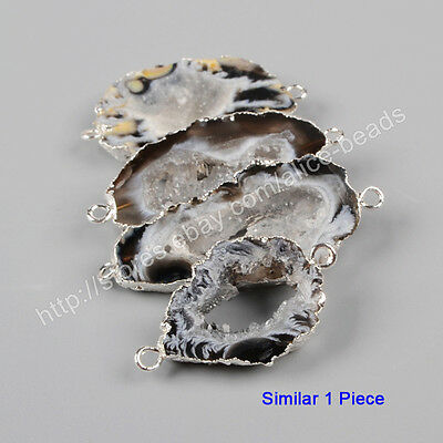 1Pcs Raw Natural Agate Druzy Geode Slice Gemstone Silver Plated Connector HS0952