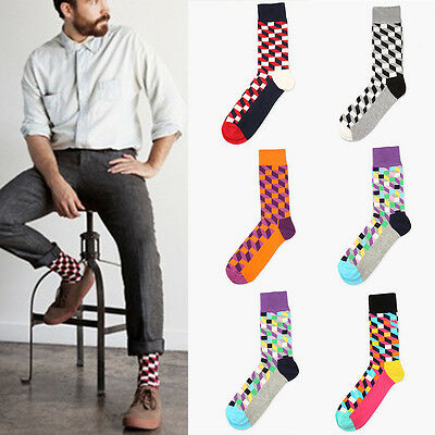 Mens Colorful Dress Socks Cotton Argyle Pattern Designer Fashion Lot