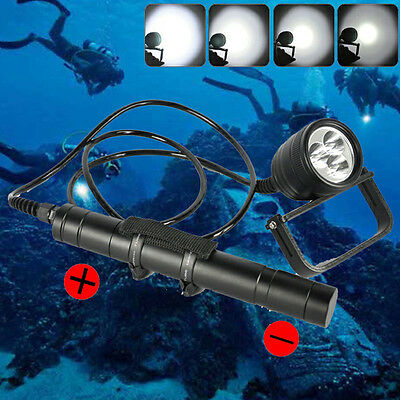 150m Underwater 3000LM XML-L2 Diving Flashlight Torch Canister Scuba Dive Light