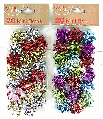 20 Pack Mini Christmas Gift Bows Glitter Gift Bows Ribbon Wrap Small Bows