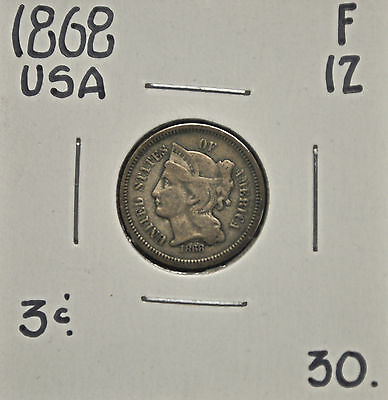 1868 USA 3 Cents F-12