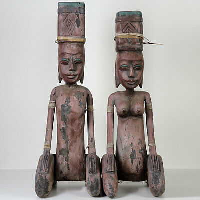 "TRIBAL ART: pair of ancient 21"" wooden figurines of unknown origin, see pictures"