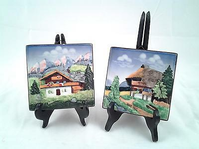 Pair Of Made In Germany Ceramic Hand Painted Kitchen Tiles Scenic