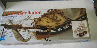 "Us Constellation, American Frigate 1789 Wooden Ship Model 1:85 Scale 32"" Long,"