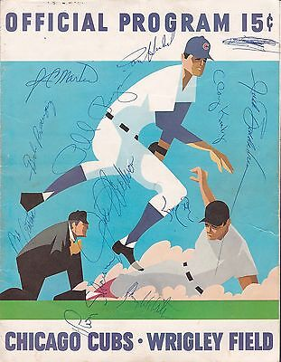 Chicago Cubs vs San Diego Padres 1970 baseball scorecard signed by 11 many rare!