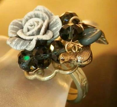 Large X Cute Vintage 80's To Mod Blue Lucite Adj Size Bird Flower Ring 218AG6