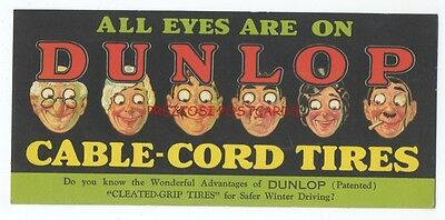 Great DUNLOP CABLE-CORD TIRES BLOTTER ca1930 - All Eyes Caricatures