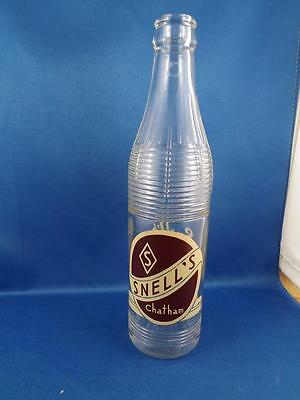Snells Beverages Chatham Soda Pop Glass 11 Oz Bottle Painted Label