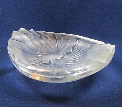 """Heavy Frosted Crystal Mid century Modernist Lalique """"Nancy"""" Ashtray Bowl France"""