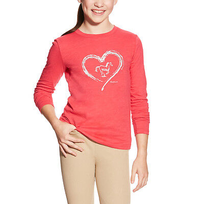 Ariat Heart Foil Long Sleeve Shirt- Girls/Kids - Azalea Pink - Diff Sizes