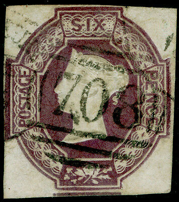 Sg58Wi, 6d mauve, CUT SQUARE, FINE used. Cat £1000. WMK REVERSED