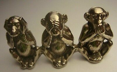 3 Wise Monkeys small metal figurines SEE SPEAK HEAR No Evil