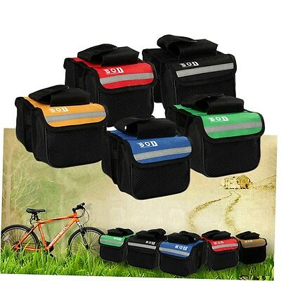 Cycling Bicycle Bike Top Frame Front Pannier Saddle Tube Bag Double Pouch SN