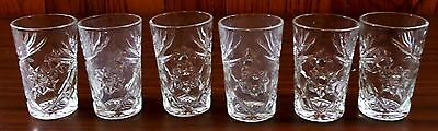 "6 Piece Set Anchor Hocking Prescut Clear Flat Juice Glasses Straight 3 7/8"" RARE"
