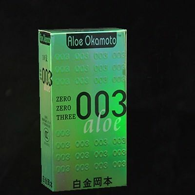 HOT sale OKAMOTO Aloe 003 Real Fit Thinnest Latex Condoms 10PCs AIDS prevention