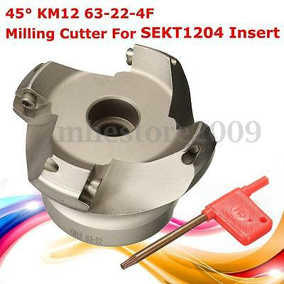 KM12 63-22-4F Indexable Face Milling Cutter Lathe 45 Degree For SEKT1204 Insert