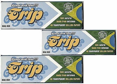 3 Packs - Trip King Size Clear Transparent Cigarette Rolling Papers 40 Per Pack