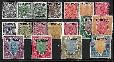Burma Sg1/18 1937 Definitive Set Ovpt On India Mtd Mint