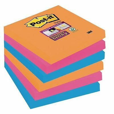 Post it Super Sticky Notes Electric Glow Assorted Colours 76 x 76mm 6 Pads