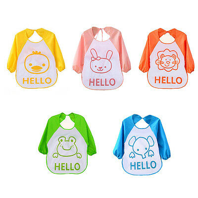 Cute Cartoon Infant Baby Children Waterproof Long Sleeve Self Feeding Bibs Apron