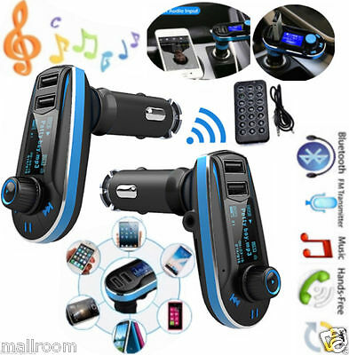 Auto MP3 FM Radio Transmitter Charger Kit DUAL USB PORT SD LCD+AUX Kable Remote