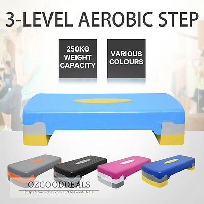New Aerobic Step Gym Fitness Workout Exercise Bench Home 68cm 250kg 5 Colour S