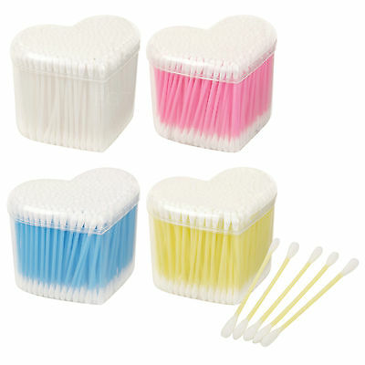 1200 Cotton Ear Buds Heart Shaped Plastic Reusable Box Make Up Applicator Sticks
