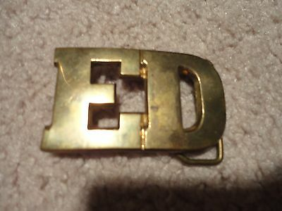 VINTAGE CUT-OUT NAME *** ED *** SOLID Cast BRASS Belt BUCKLE Taiwan