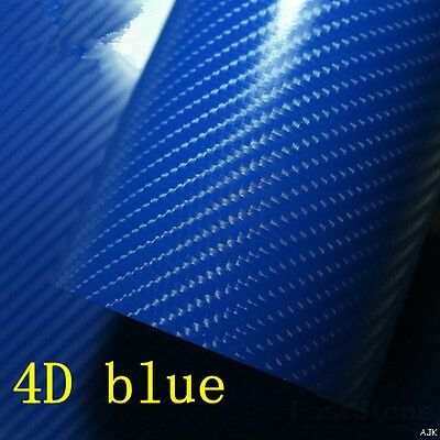 4D Blue Gloss Carbon Fibre Vinyl Wrap Air BUBBLE FREE 50cm x 1.52m