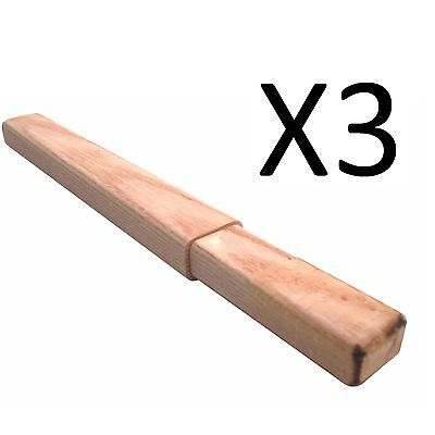A&R Hockey Stick Wooden Butt End 8 Inches Senior Solid Wood Extension (3-Pack)