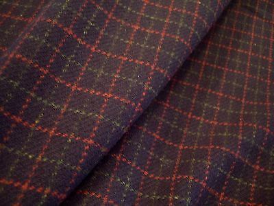 "Ralph Lauren Navy ""hitching Post"" Wool Plaid Check Fabric"
