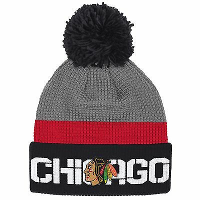 13bdf6ff1 REEBOK MENS CHICAGO Blackhawks 2015 Winter Classic Cuffed Pom Knit ...