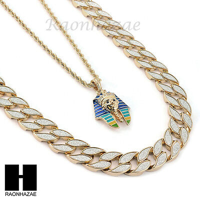 """Mens Iced Out Cuban Link 30"""" Chain / King Tut Pendant 26"""" Rope Necklace Set Sc39"""
