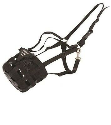 Best Friend Have A Heart Deluxe Grazing Muzzle w/ Halter - BLACK - Diff Sizes