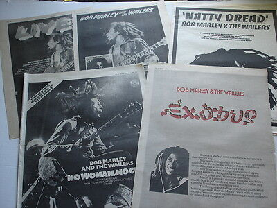 BOB MARLEY and the WAILERS magazine ad LOT of 5 rare 1975 - 1977