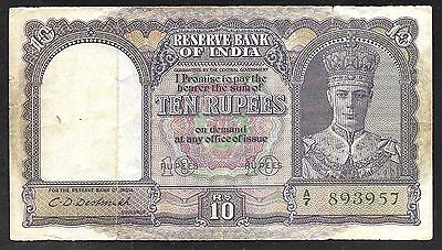 INDIA Paper Money - Old WWII Era 10 Rupees Note - 1943 - P24 - FINE+