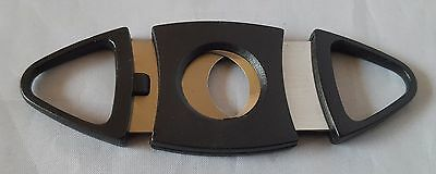 Black Cigar cutter Stainless Steel Double Blades Pocket Cigar Tobacco Cutter