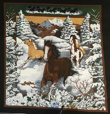 Beautiful New 16 X 16 Winter Horses In Snow On Wildlife Theme Pillow  - Complete